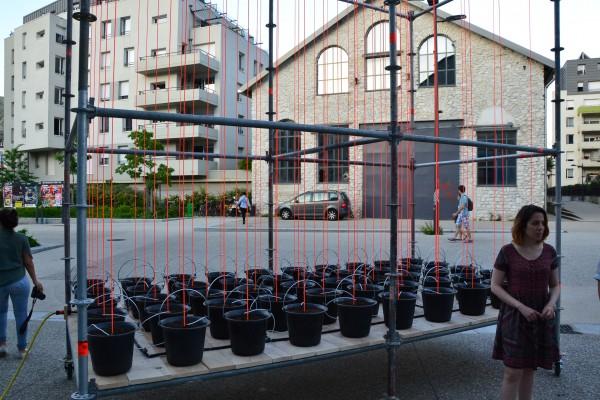 Cette installation vous accueille à l'extérieur du bâtiment. Celle-ci va évoluer pendant la durée de l'exposition avec une croissance vers les nuages de plantes. Chaque jour elle sera différente.
